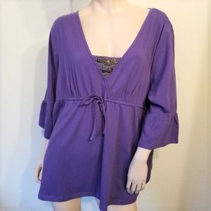New Style & Co 3X Purple Jersey Knit Top